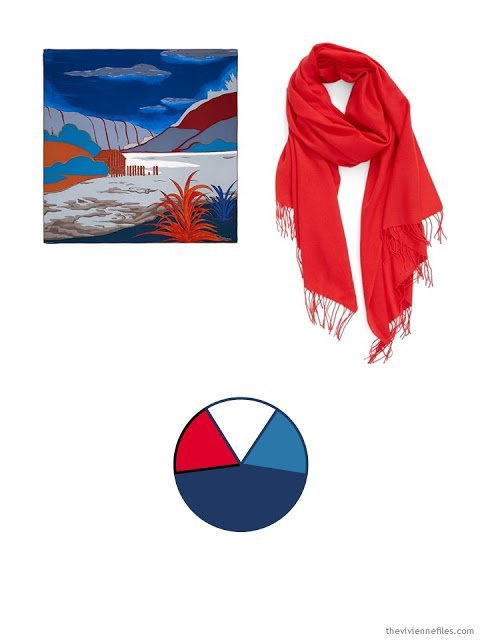 2 classic scarves in red, blue and white, and a capsule wardrobe color scheme based upon the scarves