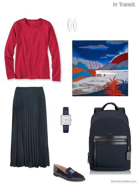 a travel outfit in navy and red