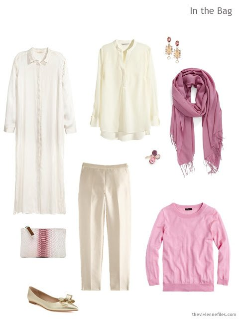 What to pack for an overnight trip, in ivory and pink