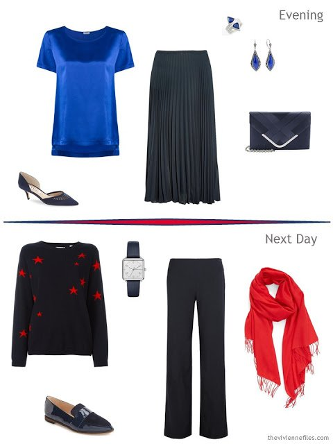 2 outfits taken from a Tote Bag Travel plan in blue, white and red