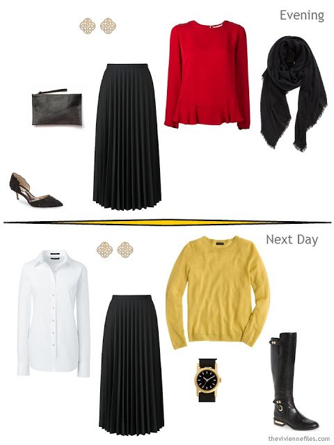two outfits from a classic overnight packing plan in black, red and yellow