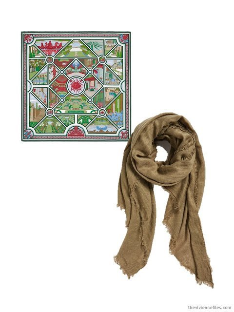 two classic scarves in camel, green and burgundy