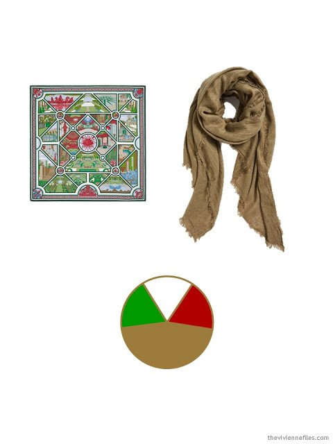 two classic scarves in camel, green and burgundy, and the color scheme based upon the scarves