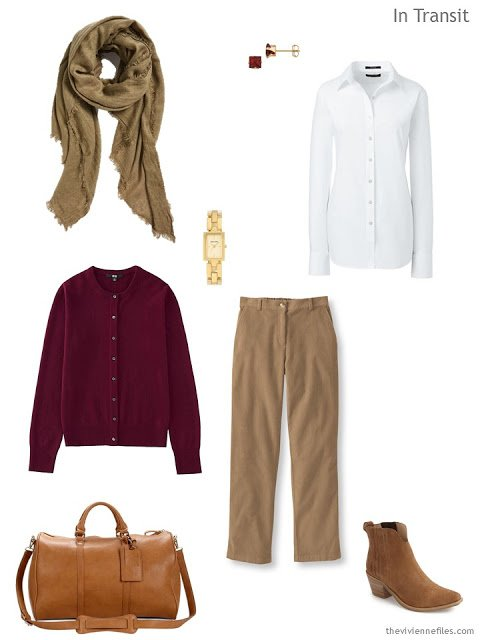 a travel outfit in camel, burgundy and white