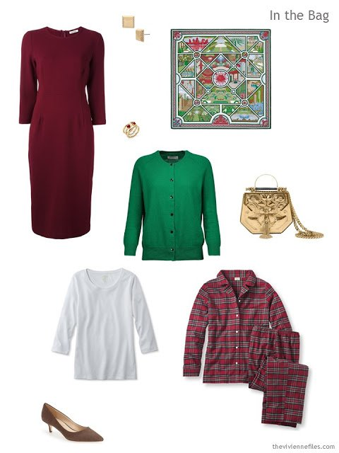 a Tote Bag Travel plan in camel, burgundy and green