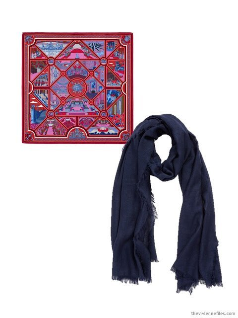 two scarves, in navy, red, hot pink and white