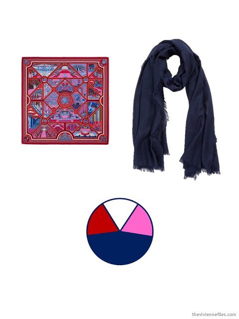 two scarves, in navy, red, hot pink and white, and the color palette based upon them
