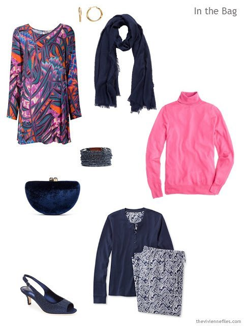 What to pack for an overnight trip, in navy, hot pink and white in a travel capsule wardrobe