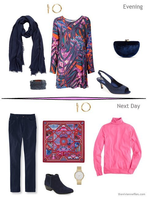 2 outfits taken from a classic overnight packing plan in a travel capsule wardrobe