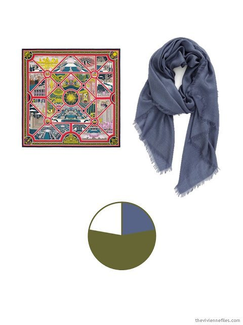 two classic scarves, in denim, ivory, and olive, and a color palette based upon them