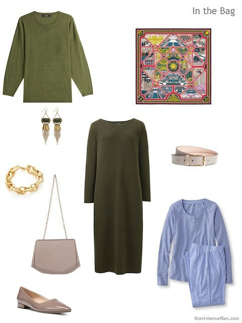 What to pack for an overnight trip, in denim, ivory, and olive