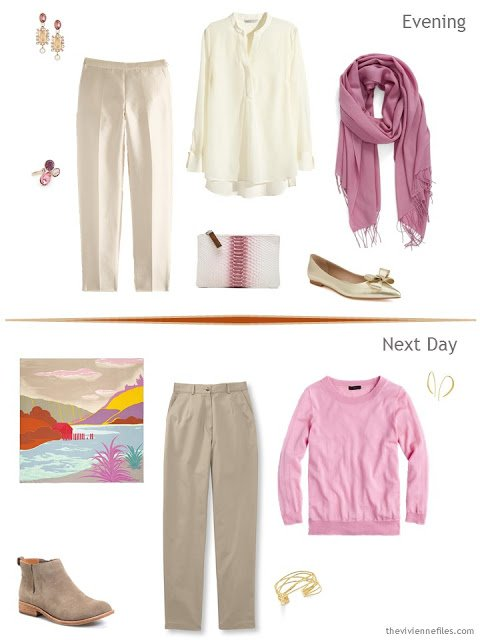 2 outfits taken from a Tote Bag Travel plan in orange, rose and sand for a travel capsule wardrobe
