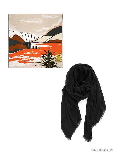 Two class travel scarves in orange, black, and sand
