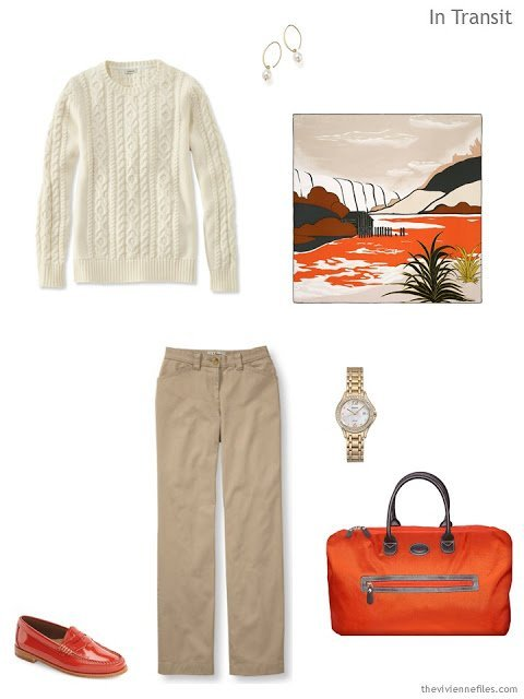 A travel wardrobe in orange, black, and sand