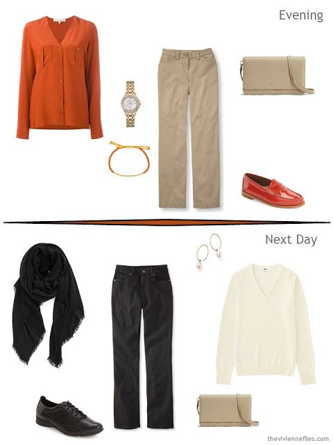 2 outfits taken from a Tote Bag Travel plan in orange, black, and sand for a travel capsule wardrobe