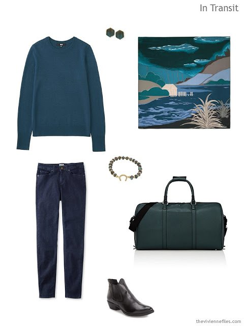 a travel outfit in shades of blue and green