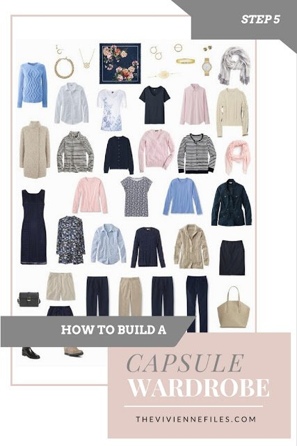 A finished capsule wardrobe built from scratch in navy, beige, pink, and blue.