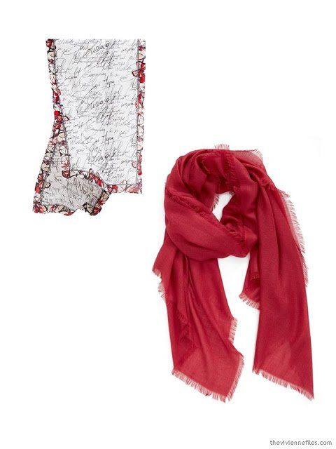 Two scarves in black and red, to serve as the color palette for an overnight trip