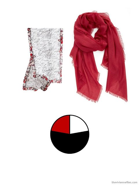 Two scarves in black and red, and the color palette taken from them