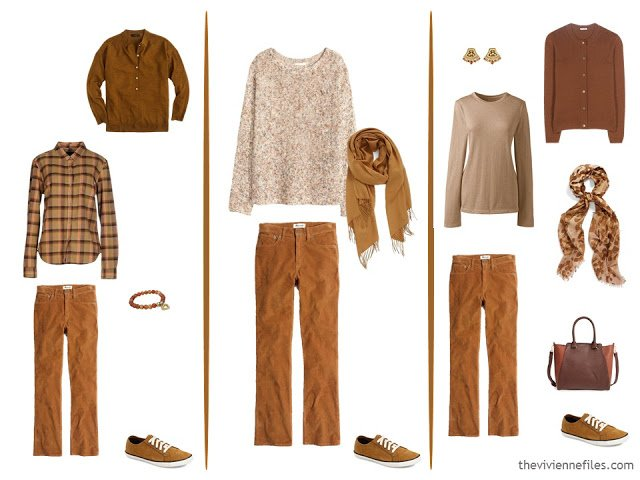 3 ways to wear rust jeans in a capsule wardrobe