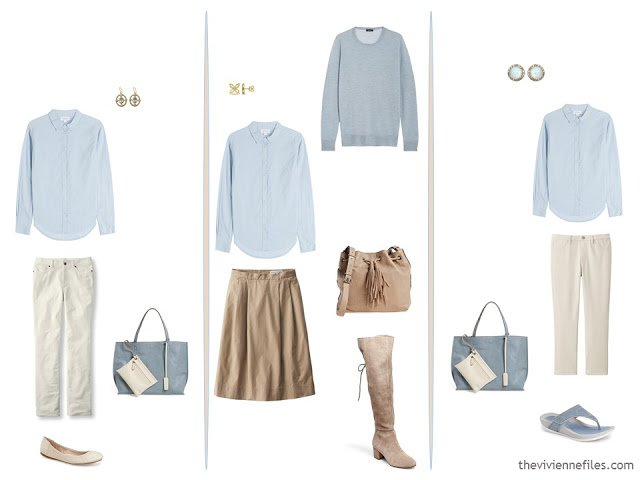 3 ways to wear a soft blue cotton shirt in a capsule wardrobe