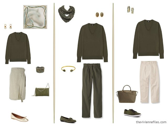 3 ways to wear an olive v-neck sweater in a capsule wardrobe