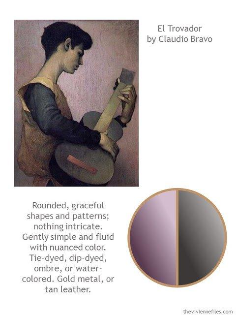 Capsule wardrobe color palette in grey and purple inspired by art: El Trovador by Claudio Bravo