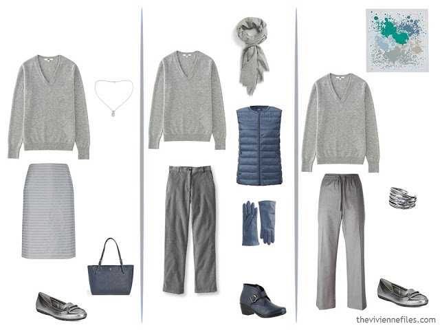 3 ways to wear a grey v-neck sweater