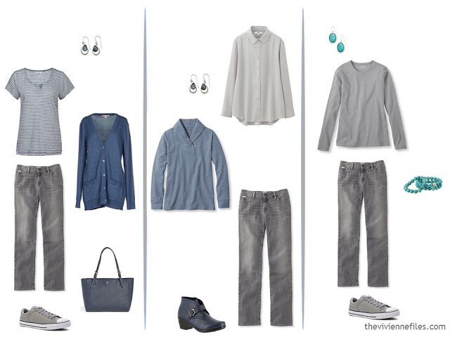 three ways to wear grey jeans