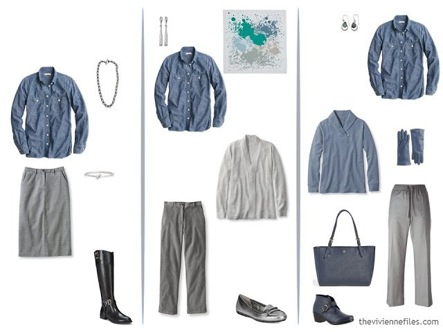 three ways to wear a denim shirt with grey