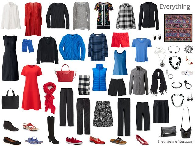 a capsule wardrobe for a Winter in black, white, red and blue