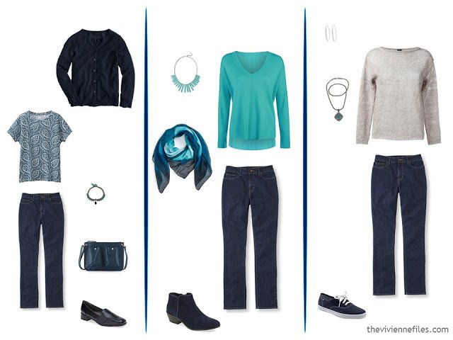 3 ways to wear blue jeans in a capsule wardrobe
