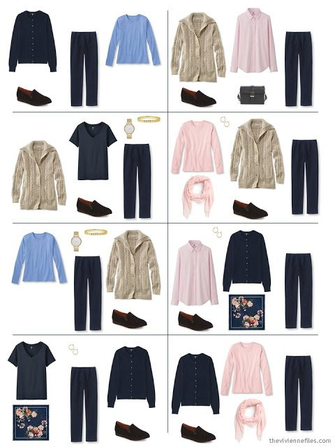 eight ways to wear navy pants, from a Starting From Scratch Wardrobe