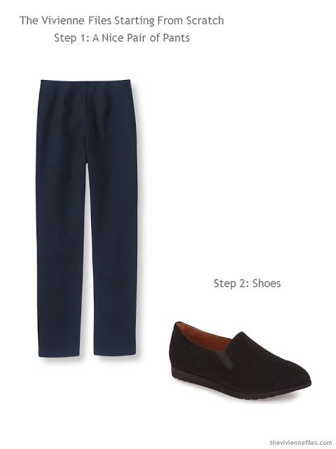 Navy pants and black loafers - the starting point of a Starting From Scratch Wardrobe in navy, khaki, pink and blue