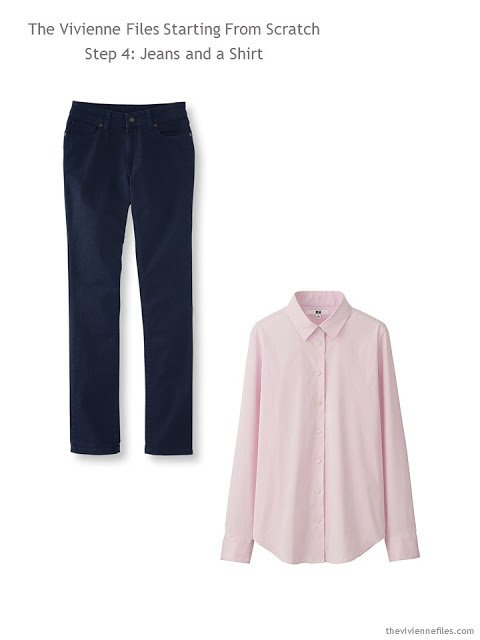 Adding jeans and a pink shirt to a Starting From Scratch Wardrobe