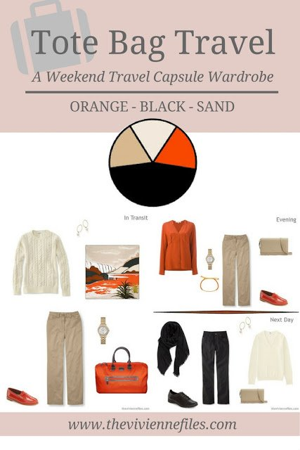 A weekend travel capsule wardrobe in an orange, black, and sand color palette
