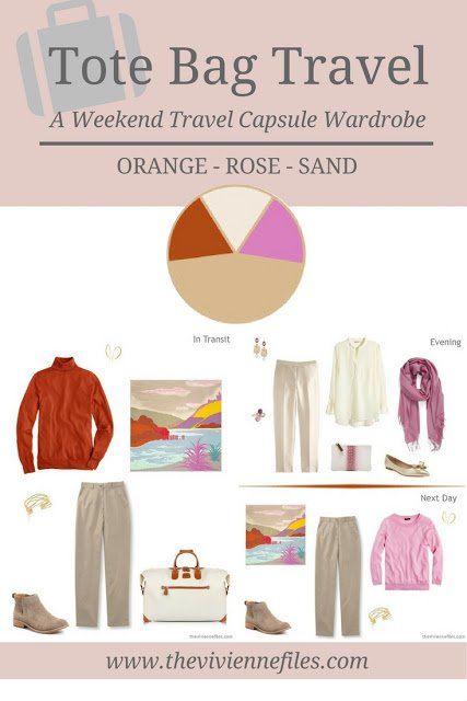 A weekend travel capsule wardrobe in a sand, rose, ornage color palette