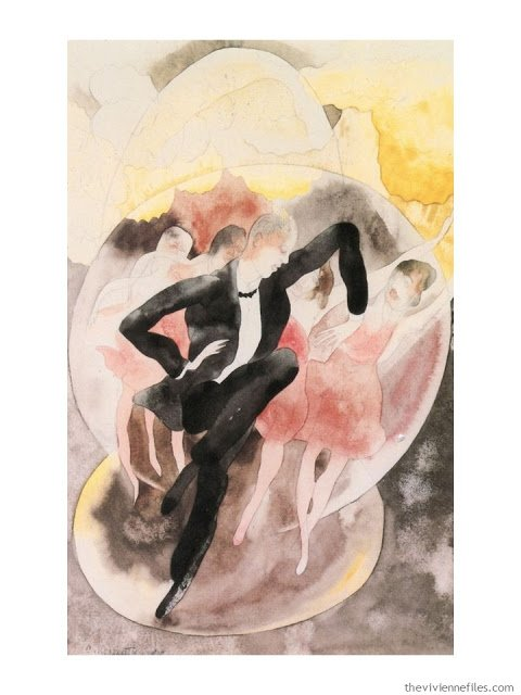 The French 5-Piece Wardrobe In Vaudeville: Dancer with Chorus by Charles Demuth