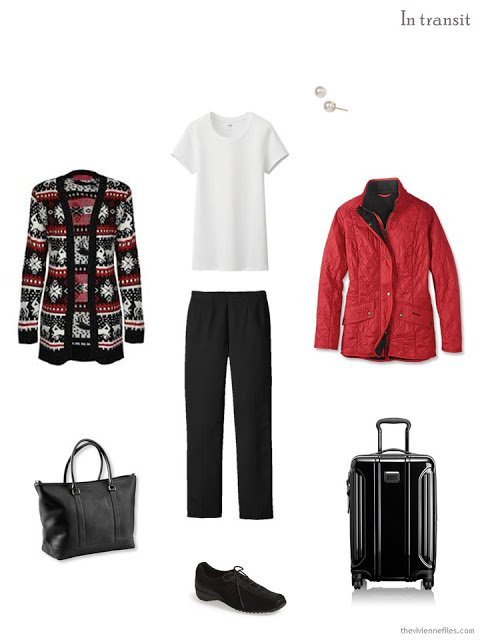 black, white and red winter travel outfit