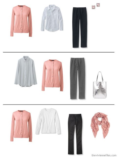 three capsule wardrobe outfits with a dusty rose cardigan