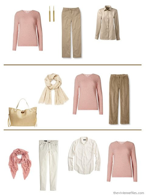 Three capsule wardrobe outfits including a dusty rose sweater