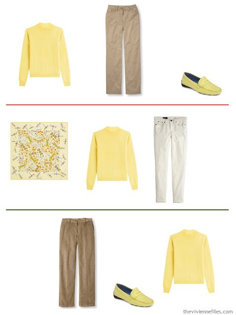 3 outfits with a soft yellow sweater