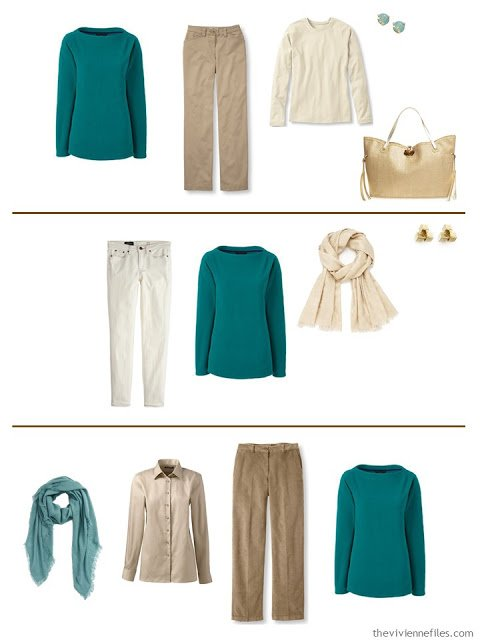 Three capsule wardrobe outfits including a jade fleece top