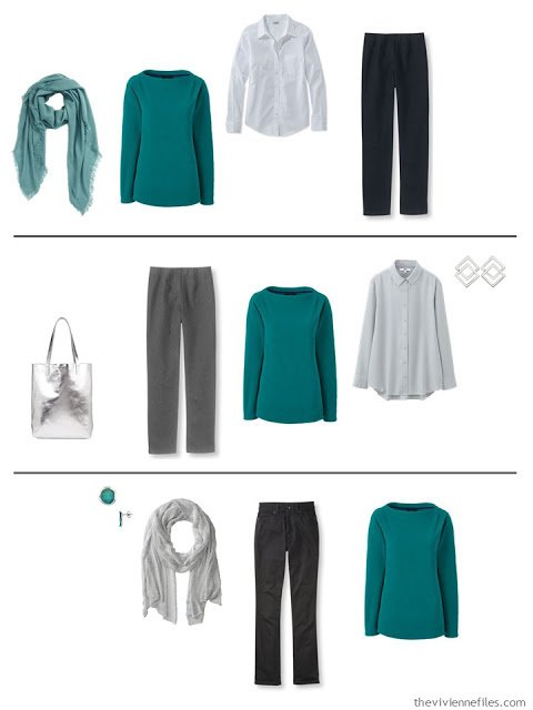 three capsule wardrobe outfits with a jade fleece top