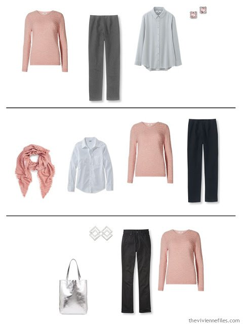 three capsule wardrobe outfits with a dusty rose sweater