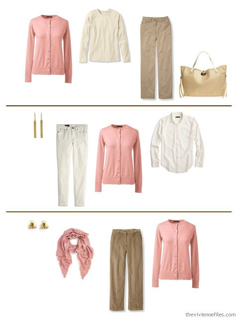 Three capsule wardrobe outfits including a dusty rose cardigan