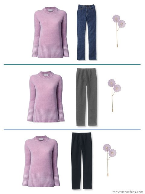 3 outfits with a lilac sweater