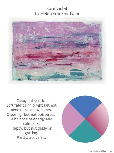 Sure Violet by Helen Frankenthaler with style guidelines and color palette