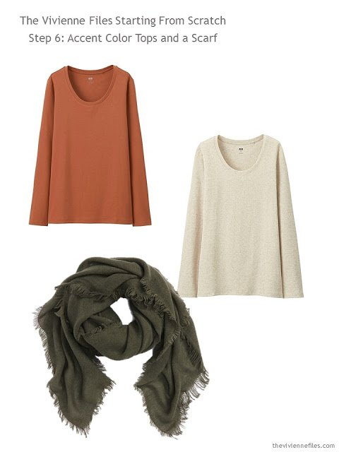 tee shirts and a scarf to add to a casual capsule wardrobe