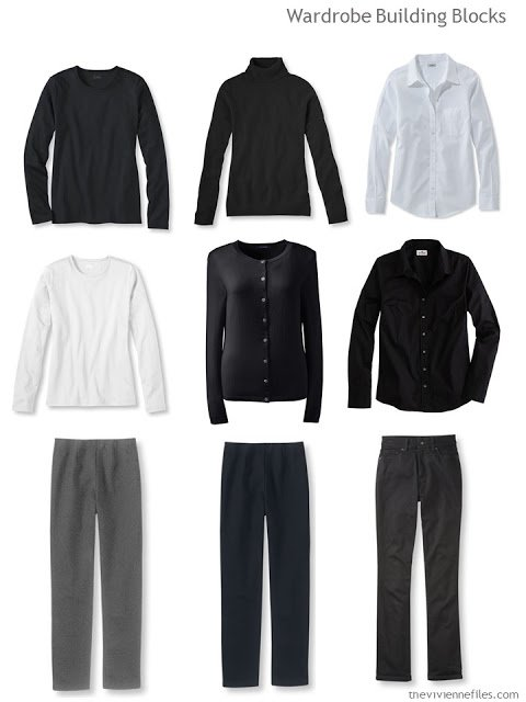 Capsule wardrobe building blocks for a French 5-piece wardrobe